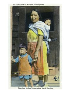 Cherokee Indian Woman and Child on the Reservation