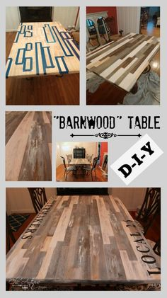Check Out My New Faux Scrap-Wood Table: I really like the scrappy look of the barn-wood tables that are trending right now. I didn't have any barn wood (or scrap wood) on hand to make a table from scratch. But I DID have a rectangle table made of solid wood. See how I transformed this plain golden oak table top into a faux scrap-wood table!