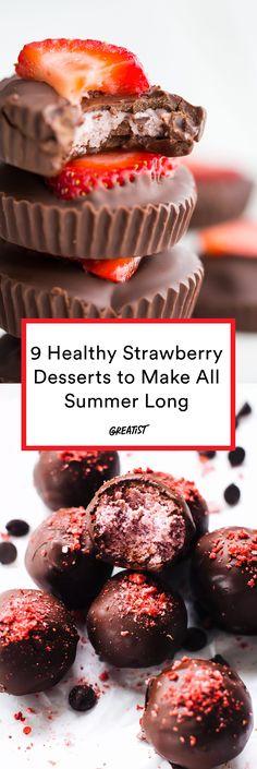 9 Healthy Strawberry Desserts That Go Beyond Shortcake and Pretzel Salad - Dessert Winter Desserts, Desserts To Make, Dessert Recipes, Peanut Butter Desserts, Chocolate Desserts, Healthy Treats, Healthy Desserts, Healthy Herbs, Healthy Strawberry Recipes Clean Eating