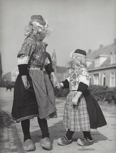 Two girls in Marken costumes Netherlands c1959  Kees Scherer