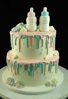 Drip Cake for Gender Reveal Cake or Baby Shower Occasion Gender Reveal Announcement, Pregnancy Gender Reveal, Baby Shower Gender Reveal, Baby Gender, Pregnancy Photos, Baby Shower Cake Designs, Baby Shower Cakes, Baby Reveal Cakes, Gender Reveal Cakes