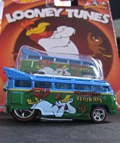 "Looney Tunes Foghorn Leghorn ""Volkswagen T1 Drag Bus"" from the 2014 Hot Wheels Pop Culture Series is metalflake blue and green..."