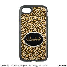 Chic Leopard Print Monogram Case