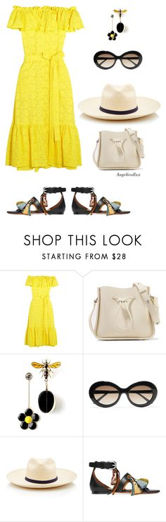 """""""Yellow"""" by angelicallxx ❤ liked on Polyvore featuring Lisa Marie Fernandez, 3.1 Phillip Lim, Sunday Somewhere, Borsalino, Chloé and offshoulderdress"""