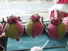 Handmade vintage chenille Christmas baubles..