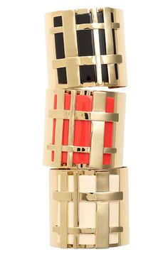 Gingham made chic?  Yup!! Just wearing one of these bold 'Gingham' Cuffs by Tory Burch is sure to add a dose of sophistication to your ensemble.