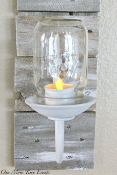 Highest CLIMBer on Sew Crafty Angel - part of the May 2016 #ChainLinkyCLIMB by: http://www.onemoretimeevents.com/mason-jar-tea-light-sconce/