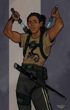 Ajay Commission at NickRoblesArt - Character Design Club 2019 Male Character, Fantasy Character Design, Character Portraits, Character Design Inspiration, Character Concept, Concept Art, Black Anime Characters, Girls Characters, Fantasy Characters