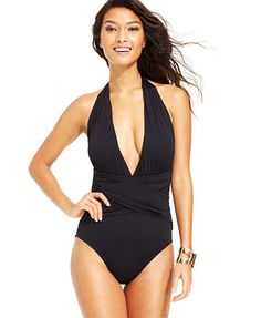 La Blanca Deep V-Neck Ruched Crossover Solid One-Piece