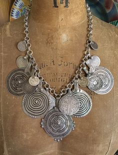 items depicted and for sale using antique Moroccan Berber silver  amulets, talismans and hand made silver chains