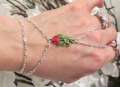 Red Rose Slave Bracelet Ring Hand painted