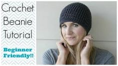 """(crochet) How To - Crochet a Simple Beanie for Ladies - Mens Size (22""""-24"""") - YouTube"""
