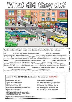 The past simple tense with a picture English teaching worksheets Past tense What are they doing What did they do worksheet Free ESL printable worksheets made by teachers. English Grammar Worksheets, English Verbs, English Writing, English Vocabulary, Teaching English, English Language, Japanese Language, Teaching Spanish, English Course