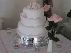 3 tier wedding cakes | W035 - Pink Roses Cornelli Lace 3 Tier Wedding Cake