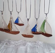 Sea Glass Sailboat Pendant with Cobalt and by SeaGlassSailboats