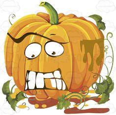 Frightened Orange Pumpkin Face With Green Vines #autumn #celebration #emotion #expression #face #fall #feeling #halloween #holiday #jackolantern #mood #november #october #orange #patch #pumpkin #thanksgiving #vegetable #vine #vector #clipart #stock