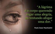 """""""A lágrima é o corpo querendo regar uma alegria, ou tentando afogar uma dor.""""  (Paulo Cesar Paschoalini) BLOG: http://pirafraseando.blogspot.com.br LINK: http://pensador.uol.com.br/autor/paulo_cesar_paschoalini FACEBOOK: https://www.facebook.com/Paulo.cesar.paschoalini.Pirafraseando"""