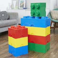 Giant LEGO Storage Blocks - Blue, Green, Red, Yellow -  Primary Bundle - Medium & Large - Bedroom, Home Office, Living Room, Lounge, Playroom