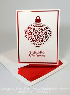 "An ""oh so rich"" combination of Red Foil Sheets and Delicate Ornament Thinlits Dies - Designed by Mary Fish, Independent Stampin' Up! Demonstrator.  Details, supply list and more card ideas on http://stampinpretty.com/2015/09/foiled-again-for-the-pals-paper-arts-challenge.html"