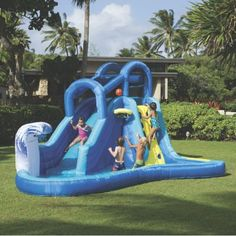 Inflatable water slide park backyard bounce house pool outdoor fun kids toy yardkids will love playing in the surf n' splash water park, which is made of pvc with dur-tech for lasting use. Backyard Water Parks, Backyard Trampoline, Backyard Toys, Banzai Water Slide, Splash Water Park, Outdoor Toys For Kids, Outdoor Games, Baby Gates, Water Slides
