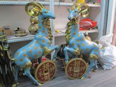 "46"" China Fengshui Bronze cloisonne Zodiac Year Money Sheep Goat Coin Statue pair Garden Decoration 100% real Brass Bronze"
