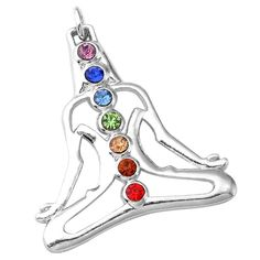 Bling Jewelry Buddha Chakra Multi Color CZ Sterling Silver Pendant