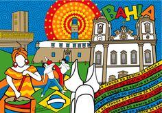 Poster Bahia - Cidades Ilustradas do Studio Monicafuchshuber por R$45,00