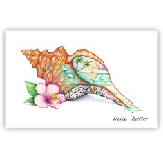 So named for its ability to grow to over two feet in length, the Horse Conch radiates the brilliant orange and red hues of a tropical sunset. Shop the shells limited edition series. Future Tattoos, New Tattoos, Tatoos, Tropical Tattoo, Seashell Tattoos, Freundin Tattoos, Skin Art, Beach Art, Bunt