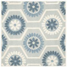 Sandra Ivory & Blue Floral Wool Hand-Tufted Area Rug