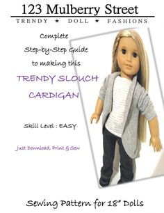 Inspiration for doll clothes to make. A slouch cardigan - soooo cute!!