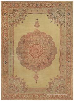 HADJI JALLILI TABRIZ, Northwest Persian, 13ft 4in x 18ft 8in, Circa 1850. Exceptionally elegant and extremely refined, this very early antique Tabriz rug from the famed Hadji Jallili workshop shimmers with an awe-inspiring patina over the entire surface. This rug transforms its surroundings by the sheer magnitude of its beauty. The soft, transparent medallion is a tour-de-force, blending tulips, roses, scrolling boughs and fronds seamlessly.