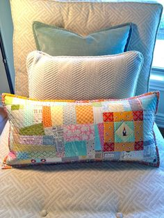 I adore pillows because I can play and not commit to the time and $$$ of big quilts all of the time.  Isn't this sweet???  Thinking out loud...