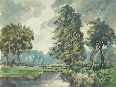 Vernon Southward Landscape Elegant In Style - 1951 Watercolour 1911-1981
