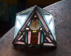 Beautiful STAINED GLASS Pyramid PAPERWEIGHT by MarchesaMosaics, $70.00