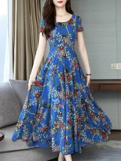 Floral Round Neckline Short Sleeve Maxi A-line Dress Chiffon Maxi Dress, Maxi Dress With Sleeves, Short Sleeve Dresses, Day Dresses, Dresses Online, Dress Silhouette, Swing Dress, Fashion Dresses, Awesome Dresses
