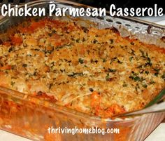 Chicken Parmesan Casserole. A great freezer meal that can be made with ingredients you probably have on hand.