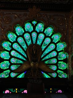 peacock stain glass by jjandames, via Flickr