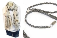 Lange Halskette Y-Kette graue Glasperlen von AndreaTraubSchmuck
