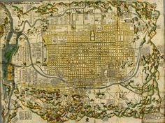 Pictorial map of Kyōto, Japan, published in 1686
