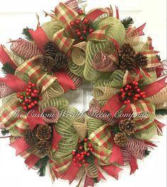 Rustic Christmas Wreath Rustic Christmas Mesh Wreath Rustic
