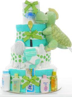 Green Dinosaur Diaper Cake