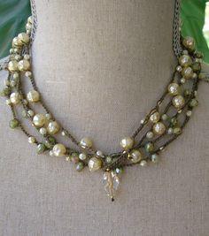 Pearl wrap bracelet Bohemian crochet jewelry fashion, beaded crochet wrap, tortoise shell, opaline green czech glass beads. $40.00, via Etsy.