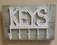 Metal Key Holder on Reclaimed Wood - Painted in the colors of your choice