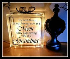 Grandma Block, 8 x 8, Glass block, Night light, Mother's Day Gift, Grandmother Gift, Grandmother, Grandma by KarisCreativeCrafts on Etsy