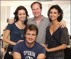 Summer Glau, Nathan Fillion, Joss Whedon, and Morena Baccarin Firefly Serenity, Serenity Now, Morena Baccarin, Best Tv Shows, Favorite Tv Shows, Les Experts Manhattan, Firefly Series, Firefly Cast, Nathan Fillon