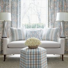 Anna French, French Bed, Wallpaper Samples, Coordinating Fabrics, Blue Pillows, Living Room Designs, Living Rooms, Accent Chairs, Upholstery
