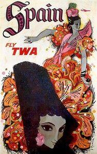 Líneas Aéreas TWA.. Tópico sea la flamenca, aunque la peineta y la mantilla quedaron más atrás.. Litografía : David Klein, años '50