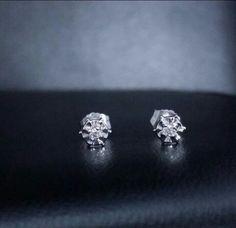 No Reserve! 14k white gold diamond stud earrings round cut .05 ct snap closure #GDD #Stud