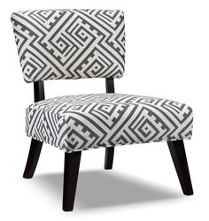 Seat of Style. The Nichols accent chair will provide a center of style in your living room or bedroom, offering a modern take on pattern and design. This armless chair features an upholstered and padded seat with cut-out back with flared, espresso-finished legs for a decidedly contemporary feel. The geometric, maze motif strikes a visually appealing note that ensures your guests will be talking about it long after it's given them a comfortable place to sit.