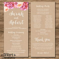 Wedding Program Template Instant Download Bohemian Floral